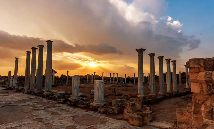 The ruins of the ancient city of Salamis